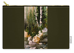 Two Birch By Rocky Stream Carry-all Pouch by Teresa Ascone