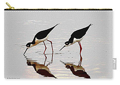 Two Black Neck Stilts Eating Carry-all Pouch