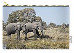 Two Bull African Elephants - Okavango Delta Carry-all Pouch by Liz Leyden