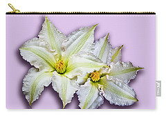 Two Clematis Flowers On Pale Purple Carry-all Pouch by Jane McIlroy