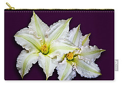 Two Clematis Flowers On Purple Carry-all Pouch by Jane McIlroy