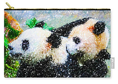 Carry-all Pouch featuring the digital art Two Cute Panda by Lanjee Chee