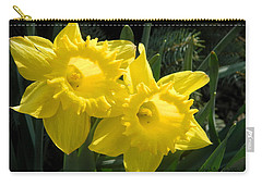 Carry-all Pouch featuring the photograph Two Daffodils by Kathy Barney
