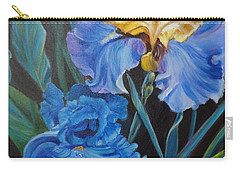Carry-all Pouch featuring the painting Two Fancy Iris by Jenny Lee