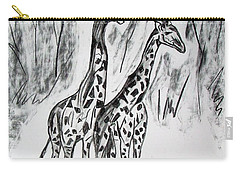 Carry-all Pouch featuring the drawing Two Giraffe's In Graphite by Janice Rae Pariza
