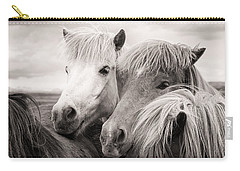 Two Icelandic Horses Sepia Photo Carry-all Pouch