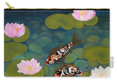 Two Koi Fish And Lotus Flowers Carry-all Pouch