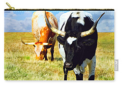 Carry-all Pouch featuring the painting Two Longhorns Grazing by Ann Powell