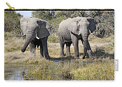 Carry-all Pouch featuring the photograph Two Male Elephants Okavango Delta by Liz Leyden