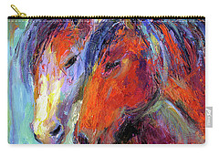 Two Mustang Horses Painting Carry-all Pouch
