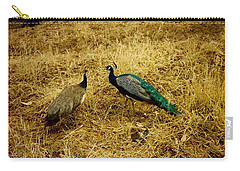 Carry-all Pouch featuring the photograph Two Peacocks Yaking by Amazing Photographs AKA Christian Wilson