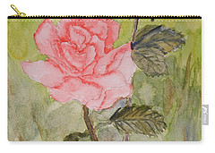Two Pink Roses Carry-all Pouch by Pamela  Meredith