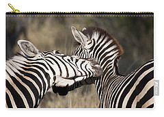 Carry-all Pouch featuring the photograph Two Plains Zebra Botswana by Liz Leyden