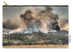 Carry-all Pouch featuring the photograph Two Smoke Columns White Draw Fire by Bill Gabbert