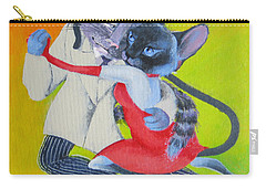 Carry-all Pouch featuring the painting Two To Cats' Tango by Marina Gnetetsky