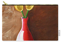 Carry-all Pouch featuring the painting Two Tulips And A Pink Rose by Laura Forde