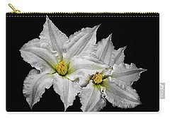 Two White Clematis Flowers On Black Carry-all Pouch by Jane McIlroy