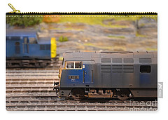 Carry-all Pouch featuring the photograph Two Yellow Blue British Rail Model Railway Train Engines by Imran Ahmed