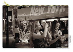 Girls With Phones And Tourbus - Times Square Carry-all Pouch by Miriam Danar