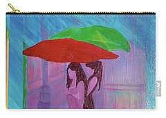 Carry-all Pouch featuring the painting Umbrella Girls by First Star Art