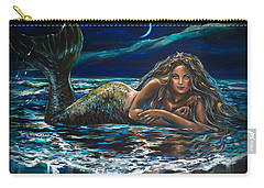 Under A Crescent Moon Mermaid Pillow Carry-all Pouch by Linda Olsen