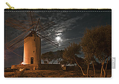 Vintage Windmill In Es Castell Villacarlos George Town In Minorca -  Under The Moonlight Carry-all Pouch by Pedro Cardona