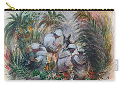 Carry-all Pouch featuring the painting Under The Palm Trees At The Oasis by Laila Awad Jamaleldin
