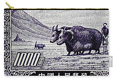 Under The Plough Vintage Postage Stamp Detail Carry-all Pouch by Andy Prendy