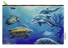 Carry-all Pouch featuring the painting Under Water Antics by Thomas J Herring