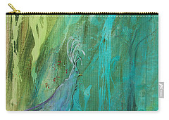 Carry-all Pouch featuring the painting Undercover Peacock by Robin Maria Pedrero