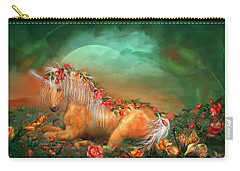 Unicorn Of The Roses Carry-all Pouch by Carol Cavalaris