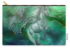 Unicorns Of The Sea Carry-all Pouch by Carol Cavalaris