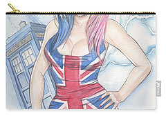 Union Jack Babe And The Tardis Carry-all Pouch by Jimmy Adams