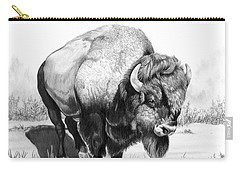 Up Close And Personal With Bison Carry-all Pouch by Cheryl Poland