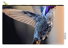Carry-all Pouch featuring the photograph Up Up And Away Male Hummingbird by Jay Milo