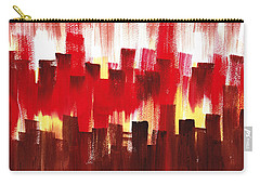 Carry-all Pouch featuring the painting Urban Abstract Evening Lights by Irina Sztukowski