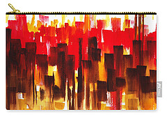 Carry-all Pouch featuring the painting Urban Abstract Glowing City by Irina Sztukowski