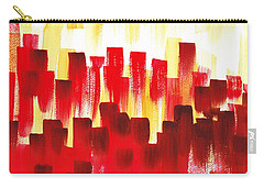 Carry-all Pouch featuring the painting Urban Abstract Red City Lights by Irina Sztukowski