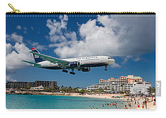 U S Airways Landing At St. Maarten Carry-all Pouch by David Gleeson