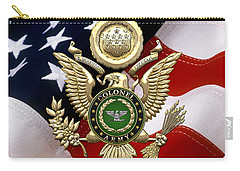 U. S. Army Colonel - C O L Rank Insignia Over Gold Great Seal Eagle And Flag Carry-all Pouch