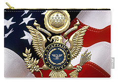 U. S.  Navy Captain - C A P T  Rank Insignia Over Gold Great Seal Eagle And Flag Carry-all Pouch
