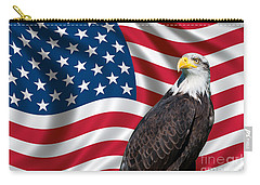Usa Flag And Bald Eagle Carry-all Pouch by Carsten Reisinger