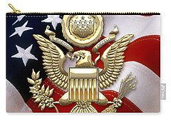 U. S. A. Great Seal In Gold Over American Flag  Carry-all Pouch