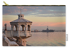 Uss Lexington At Sunrise Carry-all Pouch by Leticia Latocki