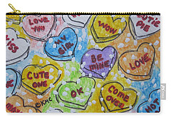 Valentine Candy Hearts Carry-all Pouch by Kathy Marrs Chandler