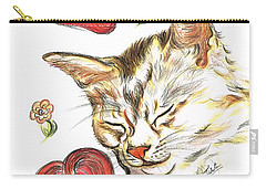 Valentine Cat Carry-all Pouch by Teresa White