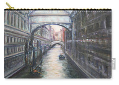 Venice Bridge Of Sighs - Original Oil Painting Carry-all Pouch by Quin Sweetman