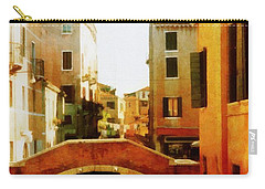 Venice Italy Canal With Boats And Laundry Carry-all Pouch by Michelle Calkins