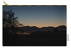 Carry-all Pouch featuring the photograph Venus And A Young Moon Over Tucson by Dan McManus