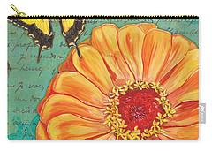 Verdigris Floral 1 Carry-all Pouch by Debbie DeWitt